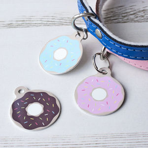 Personalised Doughnut Pet Tag Bauble Shaped - more