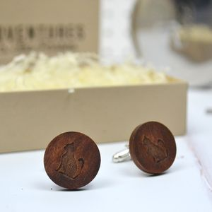 Wooden Cat Cufflinks - cufflinks