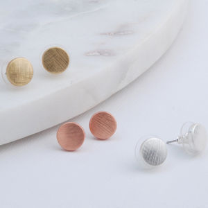 Etched Disc Earrings - earrings