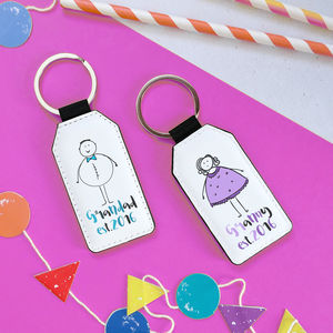 Set Of Two Personalised Grandparent Keyrings
