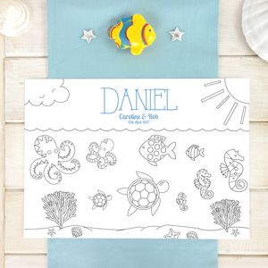 Under The Sea Personalised Party Colour In Place Mats - table decorations