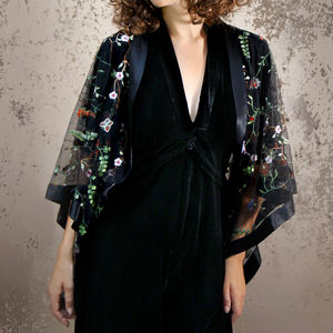 Shrug In Black Meadow Flower Embroidered Lace