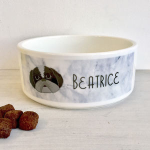 Personalised Dog Bowl Marble - dog bowls & mats