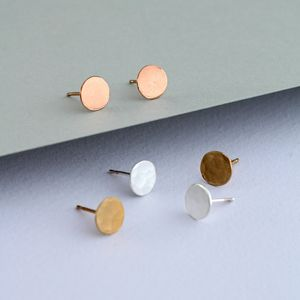 Hammered Silver Disc Earrings - contemporary jewellery