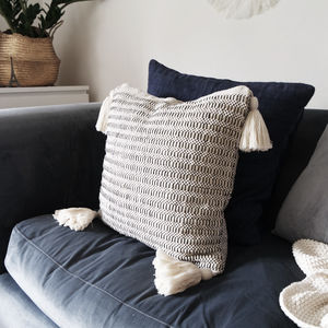 Handwoven Tassel Cushion - bedroom