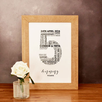 5th wedding anniversary personalised typography print wood anniversary gift