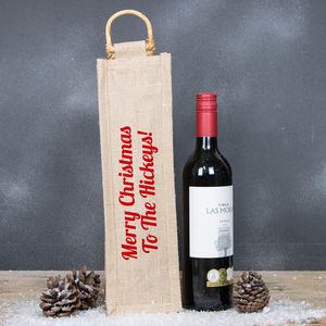 Personalised Hessian Bottle Bag