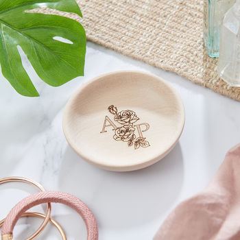 personalised birth flower ring dish