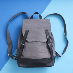 Leather And Canvas Backpack - bags