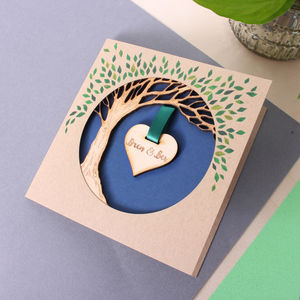 Wooden Anniversary Hanging Heart Tree Keepsake Card