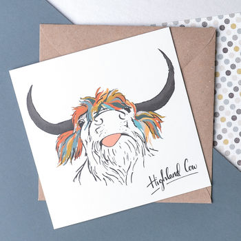 Scottish Animals 'The Cow' Card