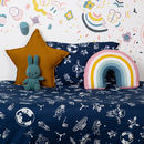 Navy Space Age Cot Bed Duvet Set