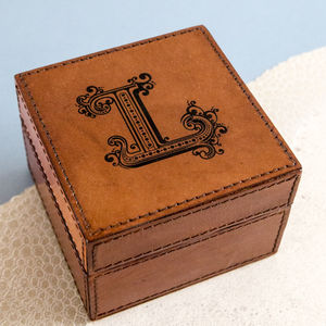 Personalised Initial Leather Jewellery Box - accessories sale