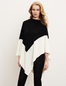 Cashmere Blend Colour Block Poncho - gifts for her