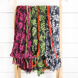 Leaf Print Scarf In Three Colours