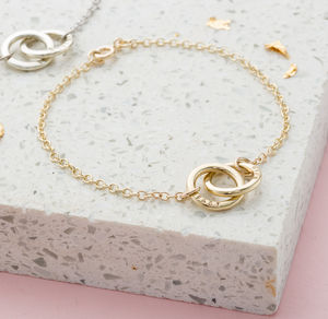 Personalised 9ct Gold Double Hoop Names Bracelet - friendship jewellery