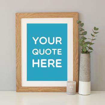 Turquoise background with oak frame