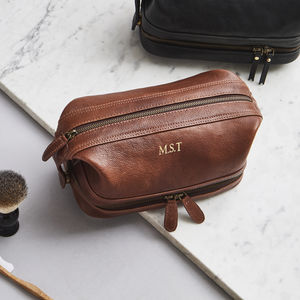 Leather Wash Bag Zip Bottom - gifts for him