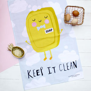 Soap 'Keep It Clean' Tea Towel - kitchen accessories