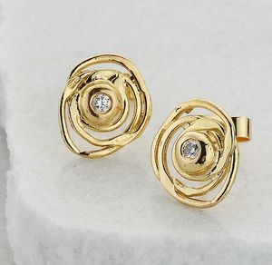 Gold And Diamond Swirly Stud Earrings