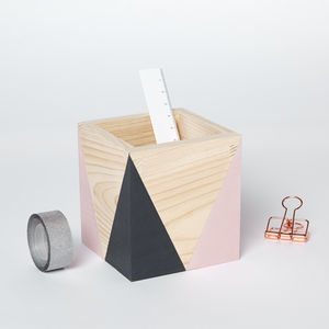 Geometric Wooden Pen Pot