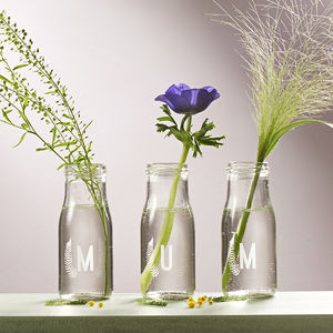 Personalised 'Mum' Botanical Bottle Bud Vases - living room