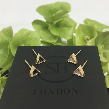 Gold Vermeil Bella Tri Stud Earrings