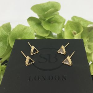 Gold Vermeil Bella Tri Stud Earrings - earrings