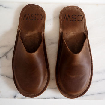 Personalised Handmade Men's Leather Slippers