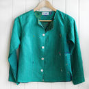 Emerald Green Handstitched Silk Ladies Jacket