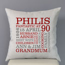 grey cushion - red and grey text