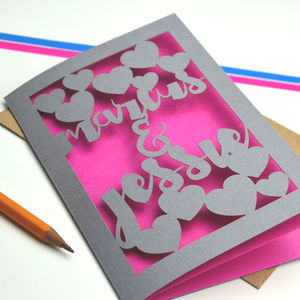 Personalised Anniversary Love Papercut Card - anniversary cards