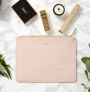 Personalised Monogram Real Leather Pouch - clutch bags