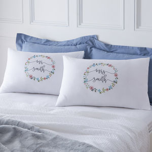 Personalised Couples Floral Pillowcases - bed linen