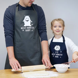 Personalised Daddy And Me Messy Monsters Apron Set - children's cooking
