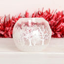 Frosted Winter Trees Glass Candle Holder
