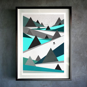 'Freedom Is A Pair Of Skis' Fine Art Giclée Print - modern & abstract
