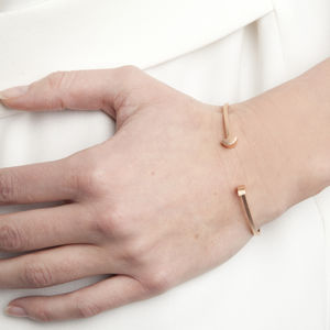 Asymmetric Semi Circle Disc Open Bangle - shop by occasion