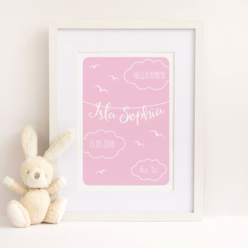 Hello Baby Girl Personalised Print