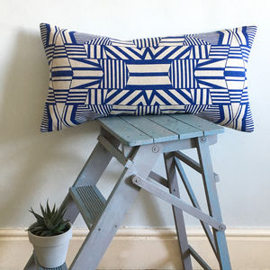 Screen Printed Geometric Pattern Cushion - cushions