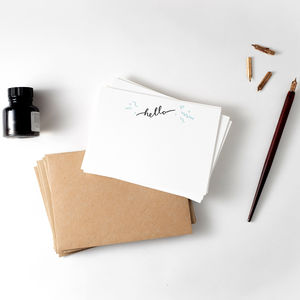 'Hello' Set Of 10 Letterpress Note Cards