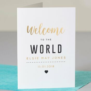 Personalised Gold Foiled Welcome New Baby Card