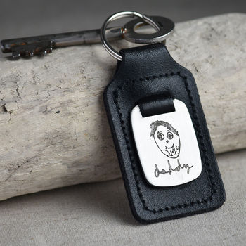 Personalised Child's Drawing Leather And Steel Keyring