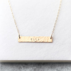 Personalised 14k Gold Fill Hammered Bar Necklace - contemporary jewellery