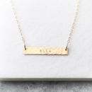 Personalised 14k Gold Fill Hammered Bar Necklace