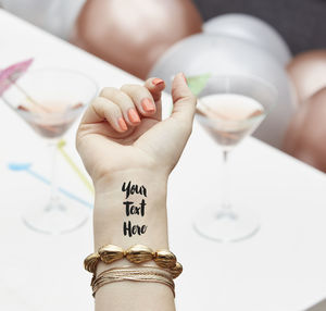 100% Personalised Temporary Tattoo - hen party styling