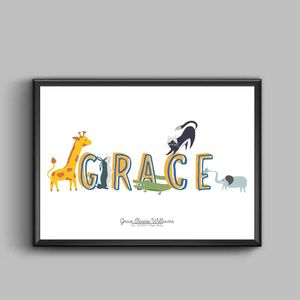 Peronalised Animal Alphabet Poster - baby's room