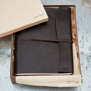 Antara Chunky Dark Brown Leather Photo Album - living & decorating