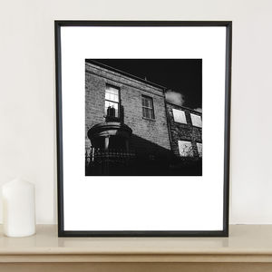 Chimney Reflection In Window Photographic Art Print