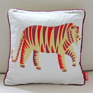 Tiger Print Cotton Cushion - cushions